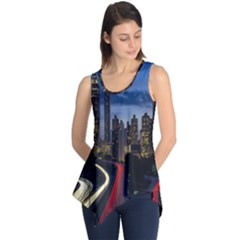Building And Red And Yellow Light Road Time Lapse Sleeveless Tunic
