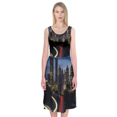 Building And Red And Yellow Light Road Time Lapse Midi Sleeveless Dress