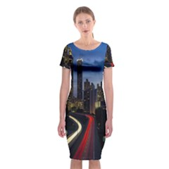 Building And Red And Yellow Light Road Time Lapse Classic Short Sleeve Midi Dress