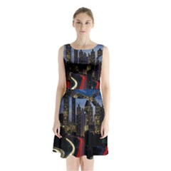 Building And Red And Yellow Light Road Time Lapse Sleeveless Chiffon Waist Tie Dress