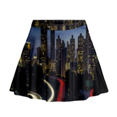 Building And Red And Yellow Light Road Time Lapse Mini Flare Skirt