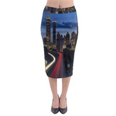 Building And Red And Yellow Light Road Time Lapse Midi Pencil Skirt