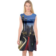 Building And Red And Yellow Light Road Time Lapse Capsleeve Midi Dress