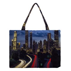 Building And Red And Yellow Light Road Time Lapse Medium Tote Bag