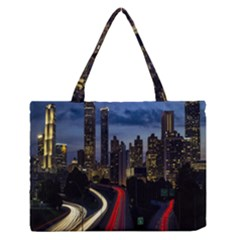 Building And Red And Yellow Light Road Time Lapse Medium Zipper Tote Bag