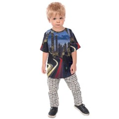 Building And Red And Yellow Light Road Time Lapse Kids  Raglan Tee