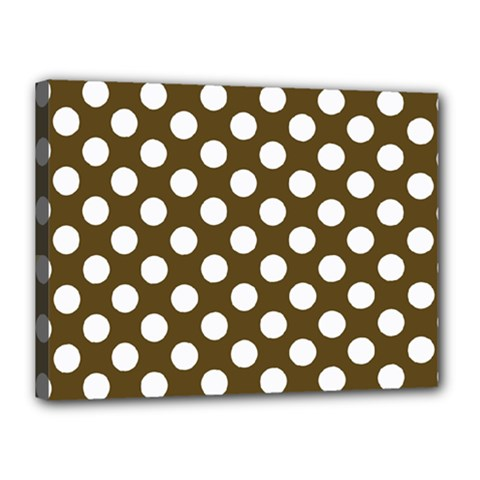 Brown Polkadot Background Canvas 16  X 12