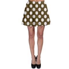 Brown Polkadot Background Skater Skirt