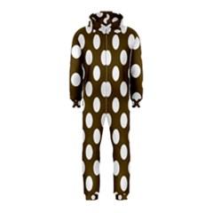 Brown Polkadot Background Hooded Jumpsuit (Kids)