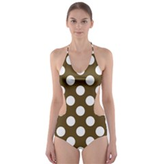 Brown Polkadot Background Cut Out One Piece Swimsuit