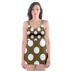 Brown Polkadot Background Skater Dress Swimsuit