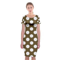 Brown Polkadot Background Classic Short Sleeve Midi Dress