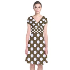 Brown Polkadot Background Short Sleeve Front Wrap Dress