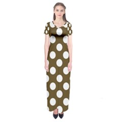 Brown Polkadot Background Short Sleeve Maxi Dress