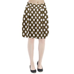 Brown Polkadot Background Pleated Skirt