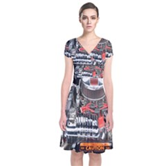 Car Engine Short Sleeve Front Wrap Dress
