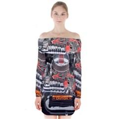 Car Engine Long Sleeve Off Shoulder Dress