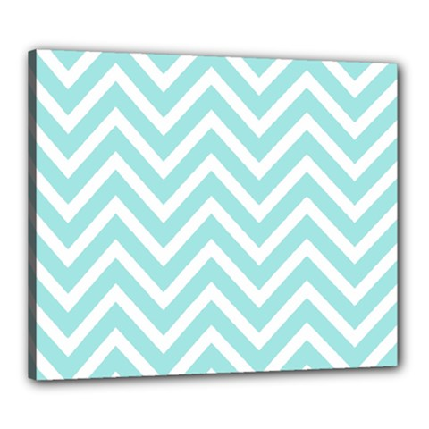 Chevrons Zigzags Pattern Blue Canvas 24  x 20