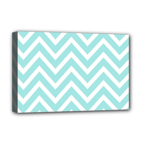 Chevrons Zigzags Pattern Blue Deluxe Canvas 18  x 12