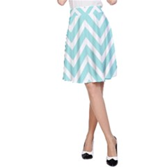 Chevrons Zigzags Pattern Blue A-Line Skirt