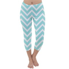 Chevrons Zigzags Pattern Blue Capri Winter Leggings