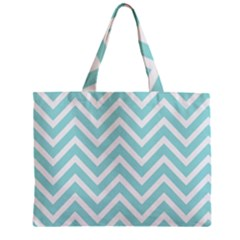 Chevrons Zigzags Pattern Blue Zipper Mini Tote Bag
