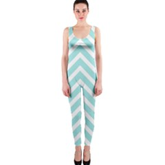 Chevrons Zigzags Pattern Blue OnePiece Catsuit