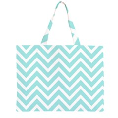 Chevrons Zigzags Pattern Blue Large Tote Bag