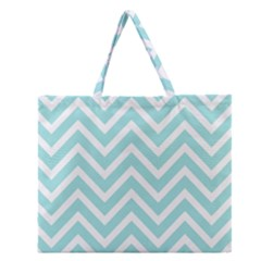 Chevrons Zigzags Pattern Blue Zipper Large Tote Bag
