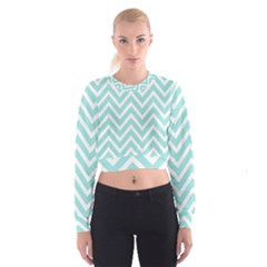 Chevrons Zigzags Pattern Blue Women s Cropped Sweatshirt