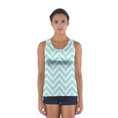 Chevrons Zigzags Pattern Blue Women s Sport Tank Top