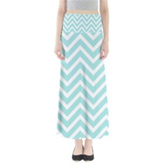 Chevrons Zigzags Pattern Blue Maxi Skirts