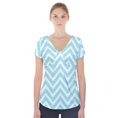 Chevrons Zigzags Pattern Blue Short Sleeve Front Detail Top