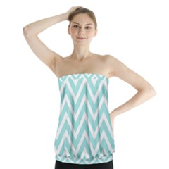 Chevrons Zigzags Pattern Blue Strapless Top