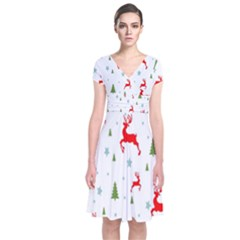 Christmas Pattern Short Sleeve Front Wrap Dress