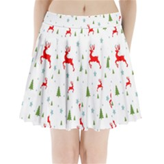 Christmas Pattern Pleated Mini Skirt