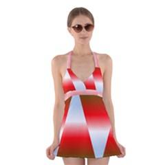 Christmas Pattern Halter Swimsuit Dress