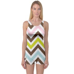 Chevrons Stripes Colors Background One Piece Boyleg Swimsuit