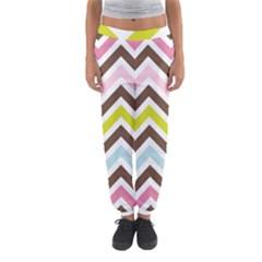 Chevrons Stripes Colors Background Women s Jogger Sweatpants