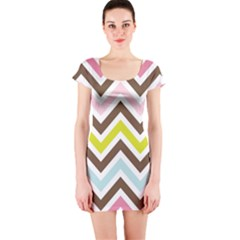 Chevrons Stripes Colors Background Short Sleeve Bodycon Dress