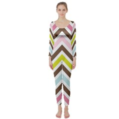 Chevrons Stripes Colors Background Long Sleeve Catsuit