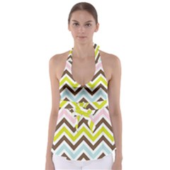 Chevrons Stripes Colors Background Babydoll Tankini Top