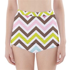 Chevrons Stripes Colors Background High-Waisted Bikini Bottoms