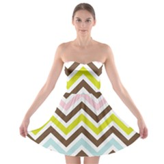 Chevrons Stripes Colors Background Strapless Bra Top Dress
