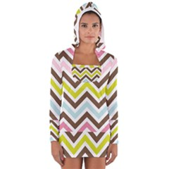 Chevrons Stripes Colors Background Women s Long Sleeve Hooded T-shirt