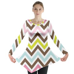 Chevrons Stripes Colors Background Long Sleeve Tunic