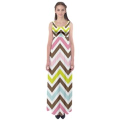 Chevrons Stripes Colors Background Empire Waist Maxi Dress