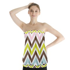 Chevrons Stripes Colors Background Strapless Top