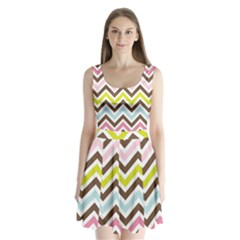 Chevrons Stripes Colors Background Split Back Mini Dress