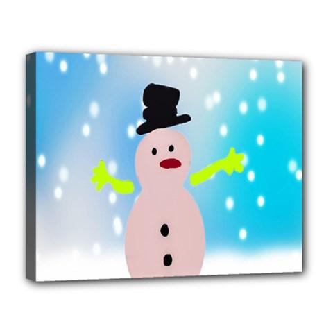 Christmas Snowman Canvas 14  x 11